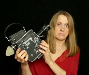 Cecile Noldus with her beloved Bolex camera.